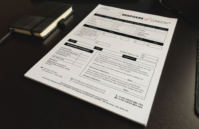 NCR Pads designed and printed